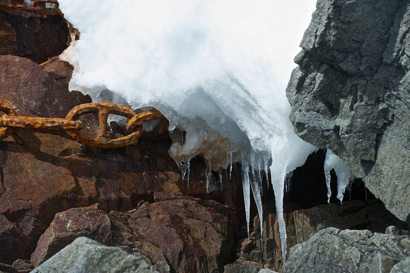 Old chain, rock and ice, Port Lockroy