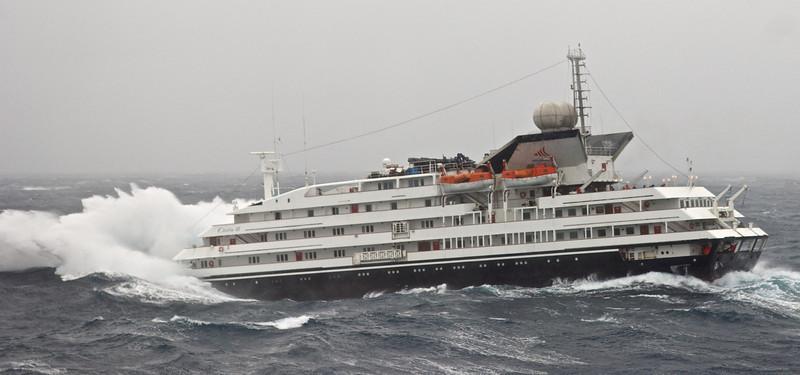 Clelia II navigating the Drake Passage on one engine