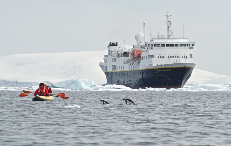 NG Explorer, Gentoo Penguins and Kayakers