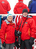 Jenny and Ched on the bow of the NG Explorer having just crossed the Antarctic Circle