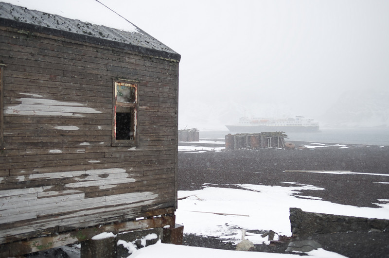 Building and NG Explorer, abandoned whaling station, Deception Island, Antarctica