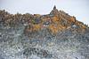Slate bedrock with lichen.