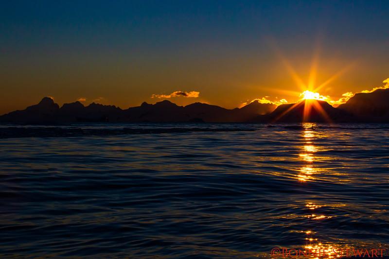 The sun setting in Antarctica
