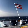 The Norwegian Flag on the Hurtigruten ship MS Fram