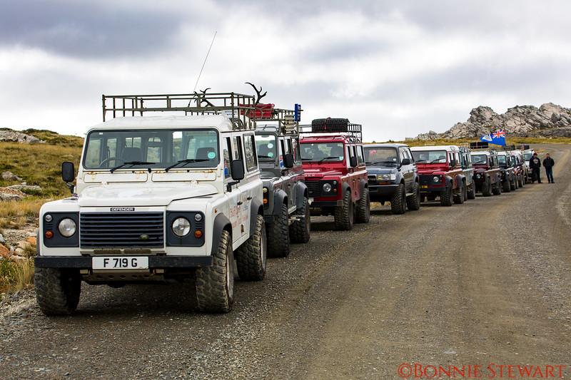 Caravan of Trucks on the Geology Tour