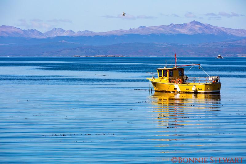 Scenic view in the harbor in Ushuaia