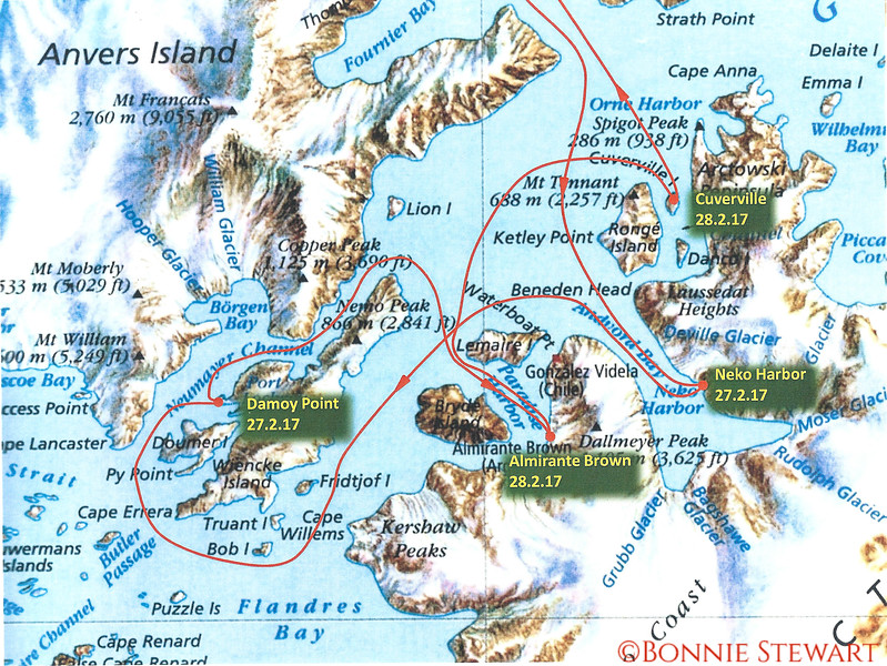 Map of the landings in Antarctica: #1 Neko Harbor; #2 Damoy Point; #3 Almirante Brown; #4 Cuverville; #5 Deception Harbor (North and off the map).  Map provide by the Hurtigruten Expedition Team.