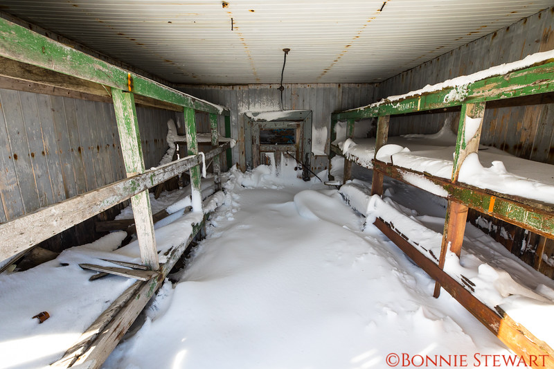Remnants of an old abandoned Norwegian whaling town at Deception Island.   The town was built in the early 1890's and abandoned in 1959.  This is the dormitory in one of the buildings that is falling down.