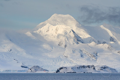 Mount Friesland on Livingston Island looming over the tiny C'amara Base (Argentina)