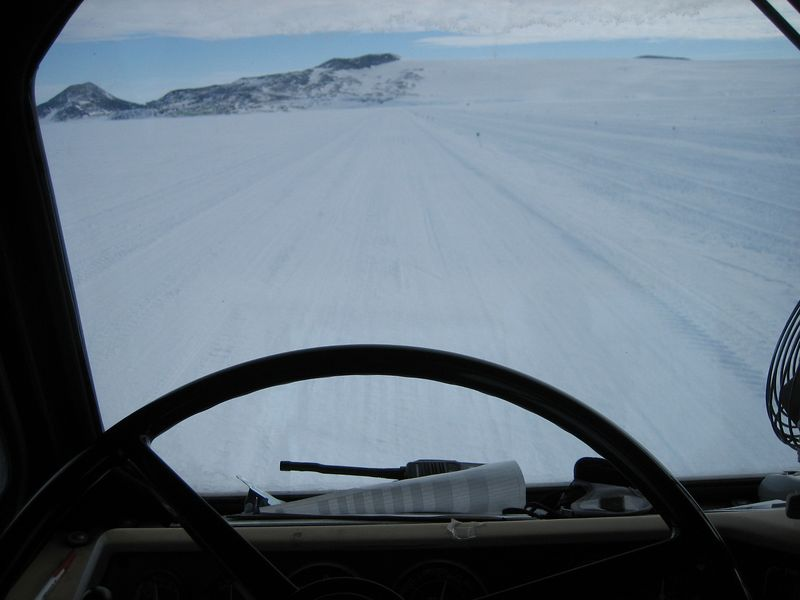Looking out on the road to LDB from behind the steering wheel of Ivan