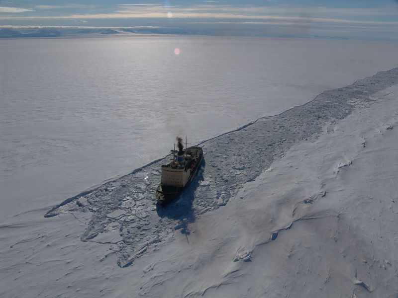 Krasin making its way through the channel en route to McMurdo...
