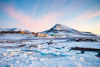 McMurdo Station. The old ice pier in the foreground.
