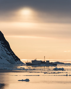 Russian Ship in Lemaire Channel.  10:41 pm.  Cold.