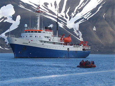 M/V Ushuaia, Antarpply Expedition 2005, Antarctica. Deception Island, Whaler's Bay.