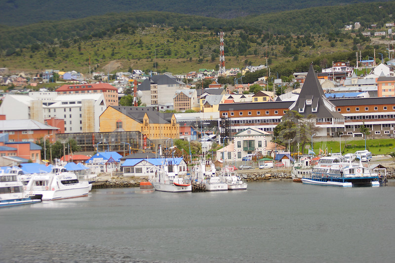 Overlooking the marina and the city of Ushuaia, the southernmost city in the world
