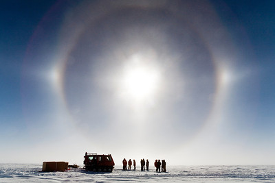 Waiting for the air drop and watching the sun dog.