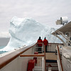 French tourists on the cruise ship 'Le Diamond' while looking at a mighty iceberg in the Weddell - Sea