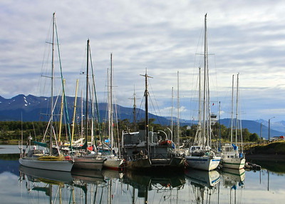 The harbor at Puerto Williams, Chile.  Last stop before Cape Horn