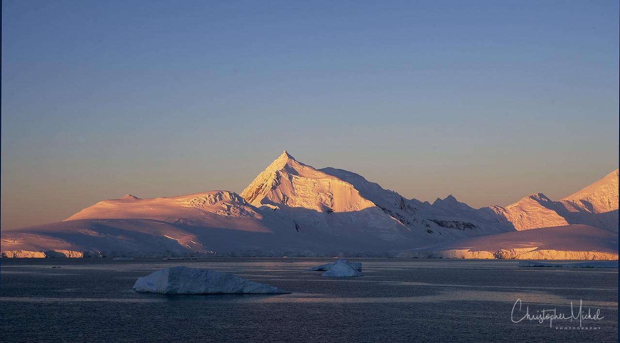 Sun sets over Antarctica