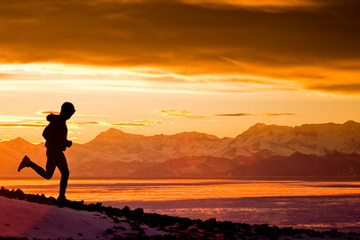 Running in endless twilight at McMurdo.