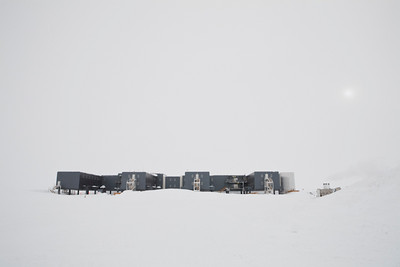 South Pole Station in a white out.