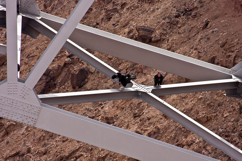 California Condors on a bridge over the Colorado River.<br /> <br /> Photo by Deb