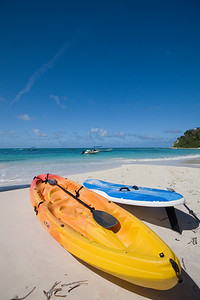 Kayak and Wind Surfer
