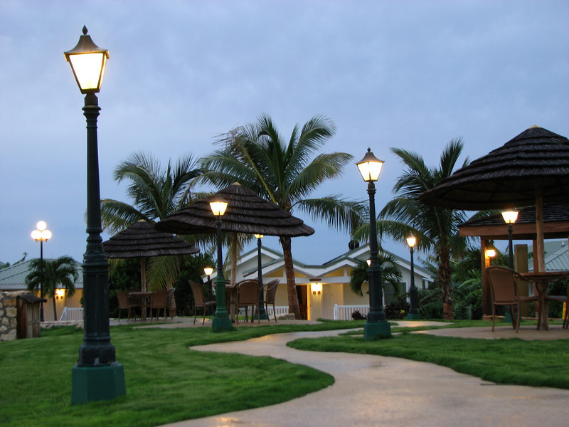 The Verandah's pool area at dusk.