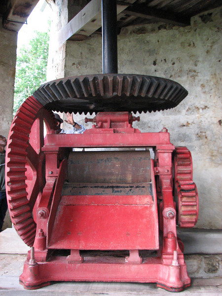 The machinery inside the windmill.