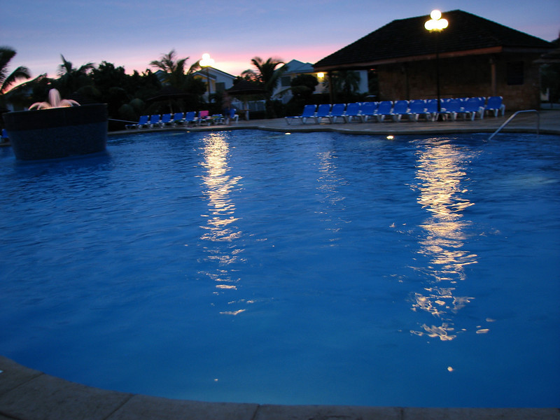 The Verandah's pool at dusk.