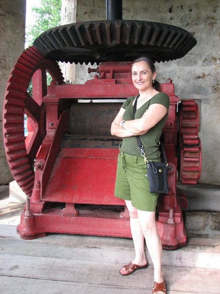 The machinery inside the windmill, and me, just to give a sense of proportion.