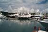 Antigua yachts under cloudy sky