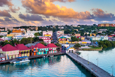 St. John's, Antigua port and skyline at twilight.
