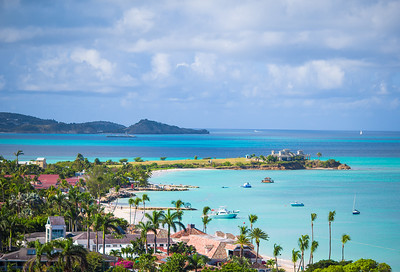 Beautiful View Of Tropical White Beach In Exotic Island In The Caribbean Sea. Amazing Antigua Island