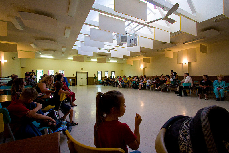 inside the community hall in Tway