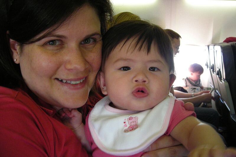 Julia did great on her first flight (WestJet 254 YYC to YXE).  It was only an hour long but we were very proud of her!