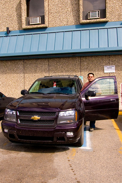 We reserved a 'small SUV' rental and got a 2008 Chevy Trailblazer.  It did the job getting us from Saskatoon to Tway and was fairly comfy.