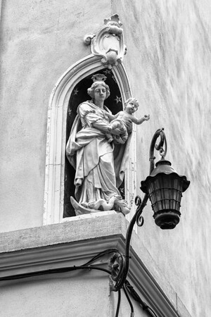 Street lighting Virgin Mary (a ruse to avoid tax on street lighting)