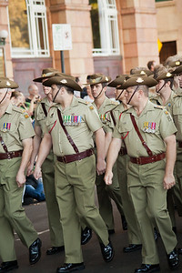 Marching soldiers Anzac day Perth 2011