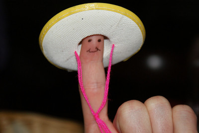 My finger in a hat.