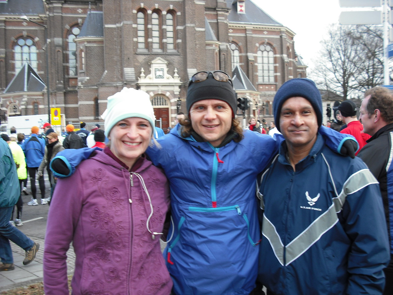 That's our friend Sonny on the right who we met in Apeldoorn for the race. Sonny is a die-hard half-marathoner and a lover of sweet wine.  He also likes to bite fingers so I kept my fingers safely tucked in my jacket.