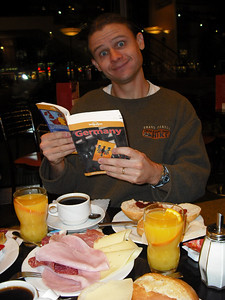 Here I am looking at my Germany travel book upon arrival in Hannover, Germany. Why Hannover and not Apeldoorn? Well, my elaborate plan to get us to Apeldoorn included a significant detour. We visited Ulf, a German exchange student I hosted in high school, and his wife, Iris. There was also another reason for Hannover, which I'll get to later.