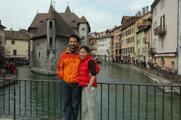 Mikail and Sheila on the canals of Annecy.