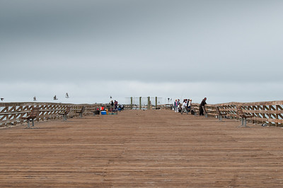Looking down the wooden pier towards the cement ship.