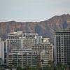 view of Diamond Head behind the towers of Waikiki