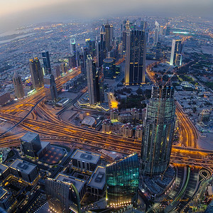 Dubai at night, looking down from the worlds tallest building