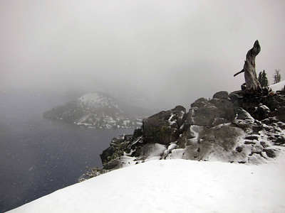 We drove through a late June snowstorm to reach the rim of Crater Lake. Didn't stay long.