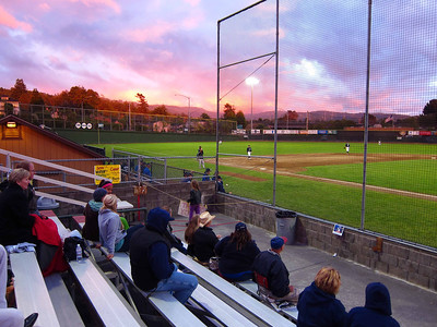Evening alpenglow as the Crabs win both ends of a double-header. Evan pitched in game 2.