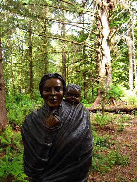 Statue of Sacajawea at Ft. Clatsop, where Lewis and Clark survived a northwest winter