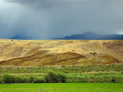 Approaching the Painted Hills during a rain squall